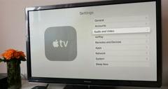 Setting AirPlay settings on Apple TV - stock footage