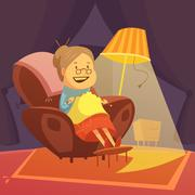 Grandmother Knitting Illustration - stock illustration