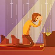 Praying Man Illustration Stock Illustration