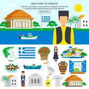 Flat Icons Set Of Greece - stock illustration