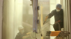 Painting chamber. painting of metal parts Stock Footage