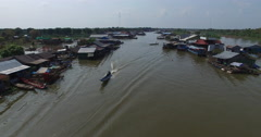 aerial long tail boat in a floating village - stock footage