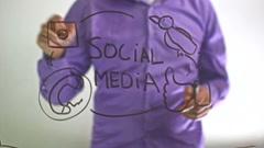 "Businessman man writes on glass board ""Social media Stock Footage"