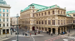 Vienna State Opera during the day Stock Footage
