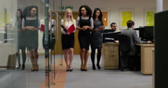4k,  tracking shot of a secretary walking with a group of business people. Stock Footage
