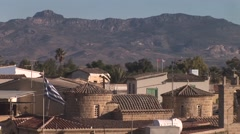 Nicosia, last divided capital city - view from south to north, flags Stock Footage