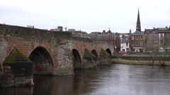 Dumfries Scotland arch Bridge River Nith 4K Stock Footage