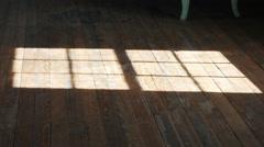Light Going Through Window Hitting Wooden Floor, 4K Stock Footage
