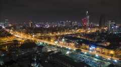 Evening time lapse of the skyline of Ho Chi Minh City, South Vietnam Stock Footage