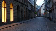 Empty city street. Europe Stock Footage