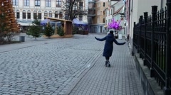 Beautiful young woman enjoying travel in Riga, Latvia, christmass time Stock Footage