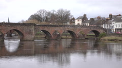 Dumfries Scotland city center River Nith Bridge 4K Stock Footage