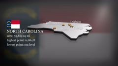 3D animated Map of North Carolina Stock Footage