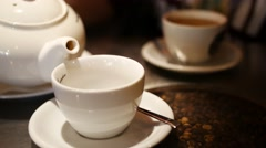 Tea in cafe  on breakfast table Stock Footage