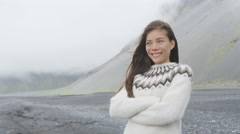 Happy Woman In Icelandic Sweater in Iceland - stock footage