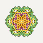 Vector mandala. Mehndi lace tattoo. Oriental weave with sharp corners - stock illustration