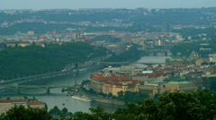 Aerial view of Prague bridges with miniature effect, tilt shift lens shot Stock Footage