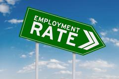 Declining employment rate with arrow sign - stock photo