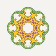 Vector mandala. Mehndi lace tattoo. Oriental weave with sharp corners - stock illustration