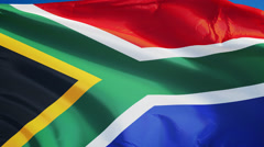 South Africa flag in slow motion seamlessly looped with alpha Stock Footage