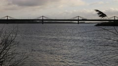 Bridge on The River Daugava view, Riga, Larvia Stock Footage
