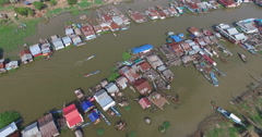 Aerial wide view of a floating village Stock Footage