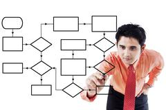 Male worker drawing empty flow chart - stock photo