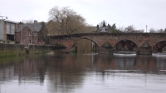Dumfries Scotland city center River Nith bridge to waterfall 4K Stock Footage