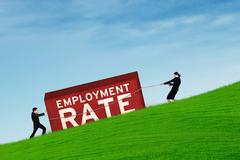 Workers moving an employment rate text - stock photo