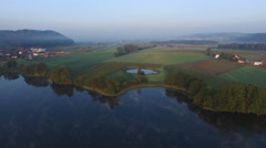 "Aerial Footage of lake ""Mauensee"" in Switzerland in the early morning, 4K, UHD Stock Footage"