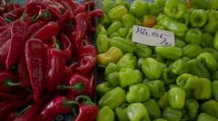 Turkish Market  Vegetable Stalls Stock Footage
