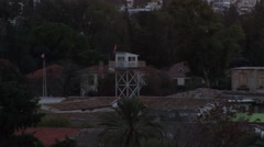 United Nations watch tower for peacekeepers, zoom wide, Nicosia Stock Footage