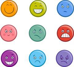 cartoon emoticons faces set - stock illustration