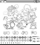 counting activity for coloring - stock illustration