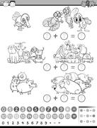 Calculate game for coloring Stock Illustration