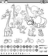 calculating animals activity - stock illustration