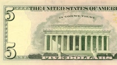 Five dollar note reverse dolly shot from left to right showing 5 symbols 4k Stock Footage