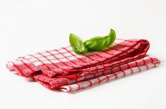 Cotton Checked Kitchen Tea Towel Stock Photos