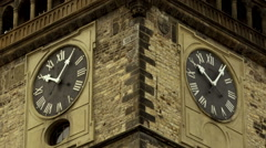 Time-lapse. Two Clocks on the tower of astronomical clock Orloj in Prague Stock Footage