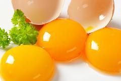 Three fresh egg yolks and empty eggshell - stock photo