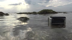4k action camera shotting a timelapse of a beautiful landscape in the beach-Dan Stock Footage
