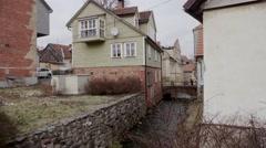 Historical buildings in old town of Kuldiga, Latvia Stock Footage