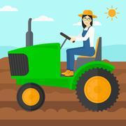 Farmer driving tractor - stock illustration