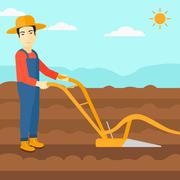 Farmer on the field with plough Stock Illustration