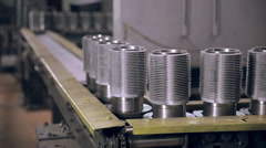 Conveyor with metall billet. Industrial modern factory Stock Footage