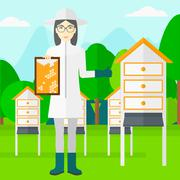 Bee-keeper at apiary Stock Illustration