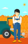 Man standing with combine on background Stock Illustration