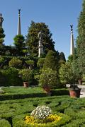 Shrubs and plants in ornate gardens Stock Photos