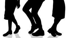 Vector silhouette of female feet. Stock Illustration