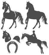 Set of horse,  horse rider and horseshoe Stock Illustration